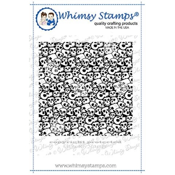 Whimsy Stamps GOTH SKULLS Background Cling Stamp DDB0028