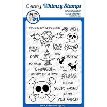 Whimsy Stamps GOTH GIRL Clear Stamps CWSD282