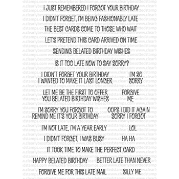 Clearly Besotted LAUGH OUT LOUD BELATED Clear Stamps
