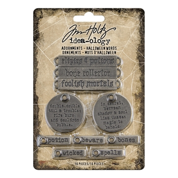 Tim Holtz Idea-ology HALLOWEEN WORDS Adornments th93966