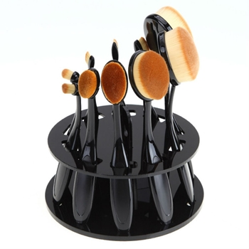10 HOLE OVAL BRUSH HOLDER Round Black 10hrackr