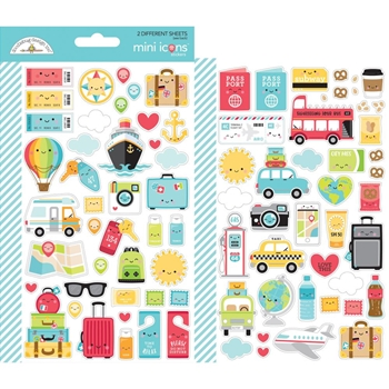 Doodlebug I HEART TRAVEL Mini Icons Cardstock Stickers 6376