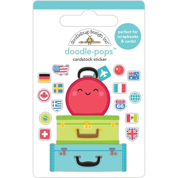 Doodlebug PACK YOUR BAGS Doodle Pops 3D Stickers 6361*