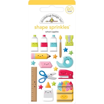 Doodlebug SCHOOL SUPPLIES Sprinkles Adhesive Glossy Enamel Shapes 6356