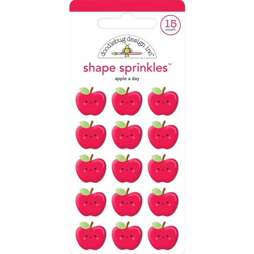 Doodlebug APPLE A DAY Sprinkles Adhesive Glossy Enamel Shapes 6355 Preview Image