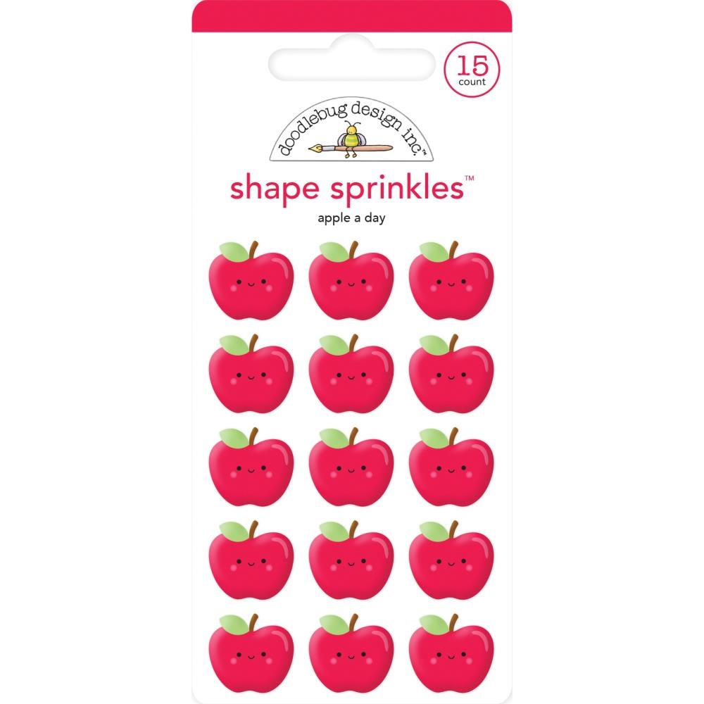 Doodlebug APPLE A DAY Sprinkles Adhesive Glossy Enamel Shapes 6355 zoom image