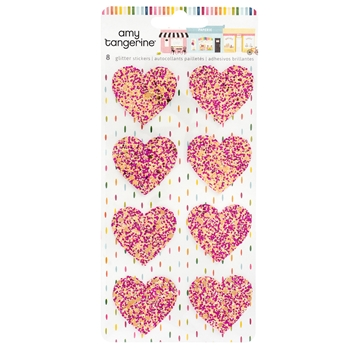 American Crafts Amy Tangerine GLITTER HEART STICKERS Slice of Life 354167