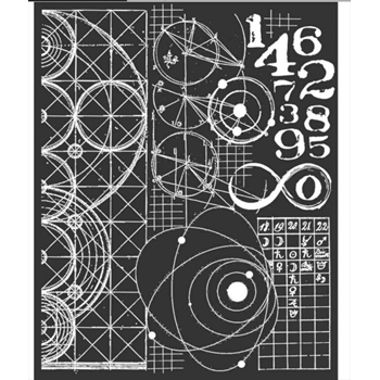 Stamperia COSMOS ASTRONOMY AND NUMBERS Stencil kstd042