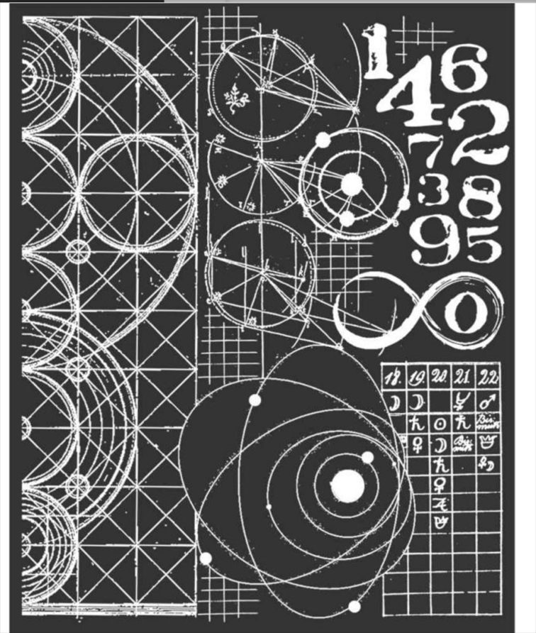 Stamperia COSMOS ASTRONOMY AND NUMBERS Stencil kstd042 zoom image