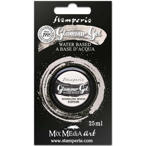 Stamperia GLAMOUR GEL SPARKLING WHITE 25ml k3p59b