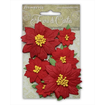 Stamperia POINSETTIA RED Paper Flowers sf144