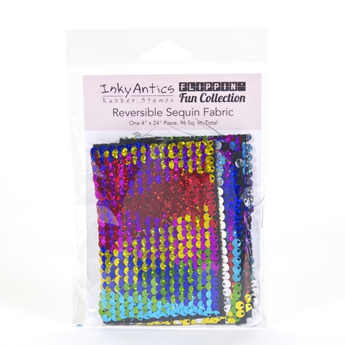 Inky Antics RAINBOW HOLOGRAPHIC TO SILVER HOLOGRAPHIC Reversible Sequin Fabric sqrh2sh* Preview Image