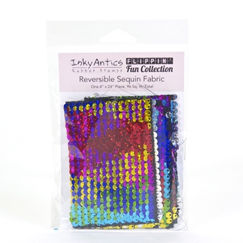 Inky Antics RAINBOW HOLOGRAPHIC TO SILVER HOLOGRAPHIC Reversible Sequin Fabric sqrh2sh*