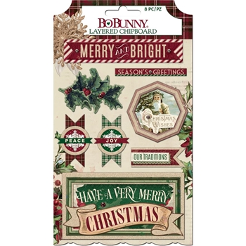 BoBunny CHRISTMAS TREASURES Layered Chipboard 7310923
