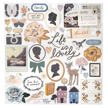 Crate Paper HERITAGE 12 x 12 Chipboard Stickers 350944