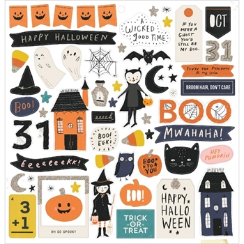 Crate Paper HEY PUMPKIN 12 x 12 Chipboard Stickers 350885