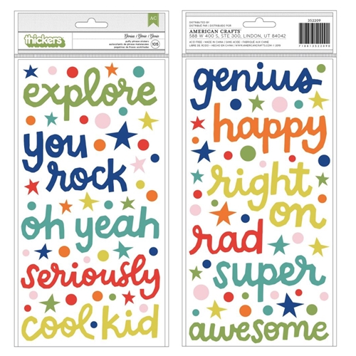 American Crafts Shimelle GENIUS Puffy Phrase Stickers Field Trip 352209 Preview Image