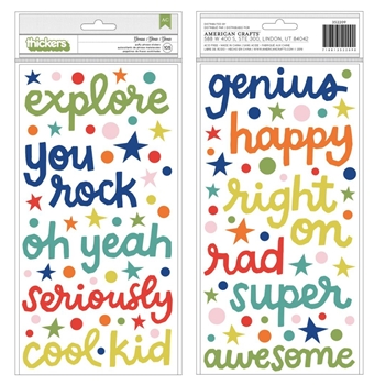 American Crafts Shimelle GENIUS Puffy Phrase Stickers Field Trip 352209