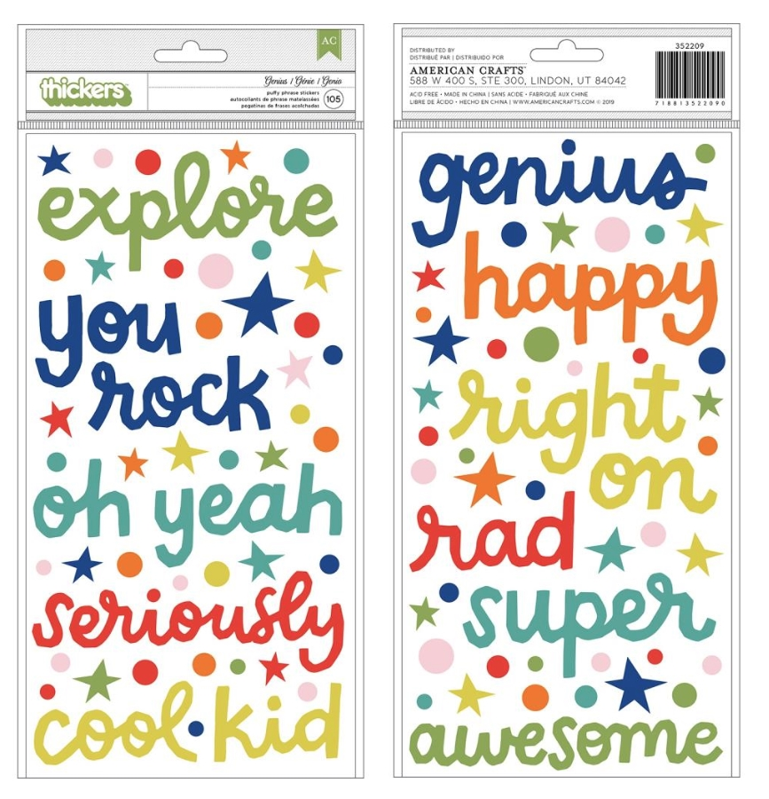 American Crafts Shimelle GENIUS Puffy Phrase Stickers Field Trip 352209 zoom image