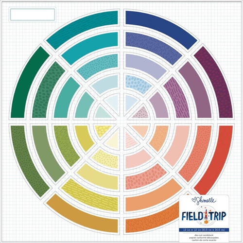 American Crafts Shimelle COLOR WHEEL Field Trip Die Cut 12x12 Inch Cardstock 352207 Preview Image