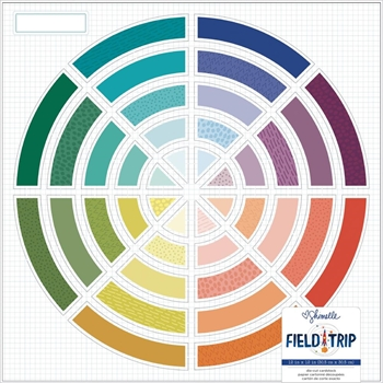 American Crafts Shimelle COLOR WHEEL Field Trip Die Cut 12x12 Inch Cardstock 352207
