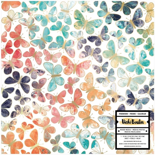 American Crafts Vicki Boutin BUTTERFLIES VELLUM 12x12 Inch Wildflower and Honey 352252 Preview Image