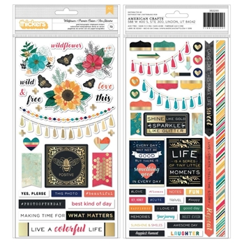 American Crafts Vicki Boutin WILDFLOWER GOLD HOLOGRAPHIC Chipboard Stickers 352255