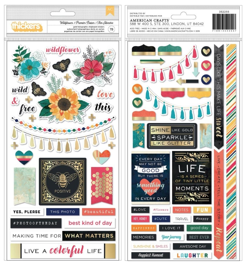 American Crafts Vicki Boutin WILDFLOWER GOLD HOLOGRAPHIC Chipboard Stickers 352255 zoom image