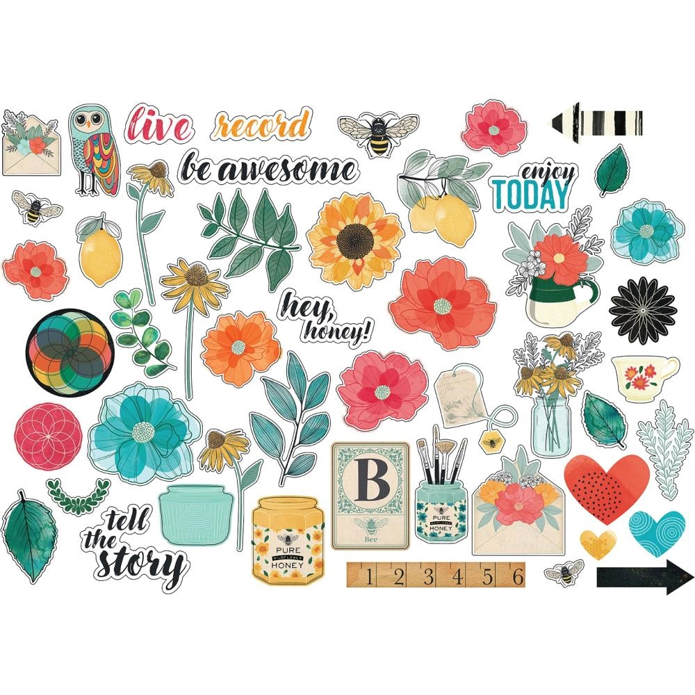 American Crafts Vicki Boutin CARDSTOCK ICONS Wildflower and Honey Ephemera 352262 zoom image