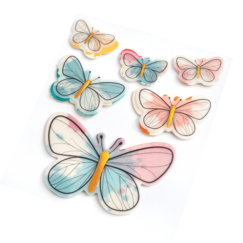 American Crafts Vicki Boutin VELLUM BUTTERFLIES Layered Stickers Wildflower and Honey 352259 zoom image