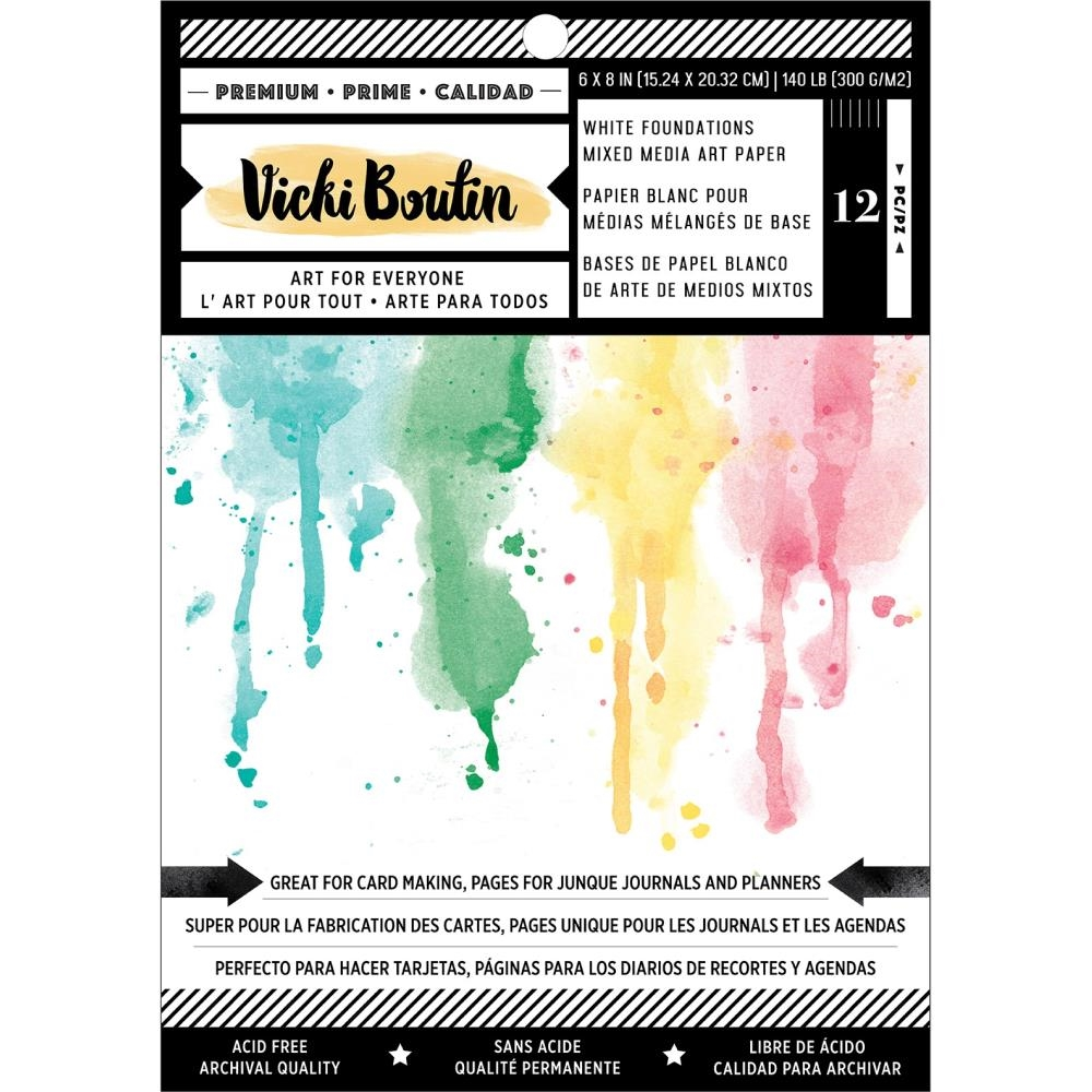 American Crafts Vicki Boutin 6x8 INCH WHITE FOUNDATIONS 140 LB Smooth White Cardstock 354114 zoom image