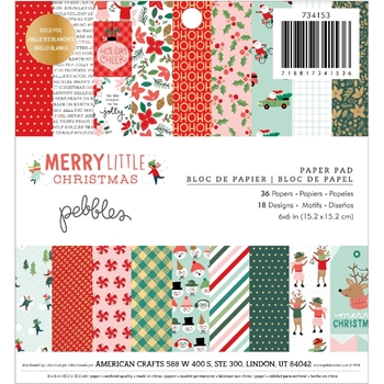 Pebbles Inc. MERRY LITTLE CHRISTMAS 6x6 Inch Paper Pad 734153