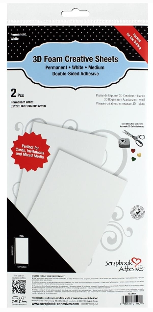 Scrapbook Adhesives WHITE 6x12 Inch 3D Foam Creative Sheets 01400 zoom image