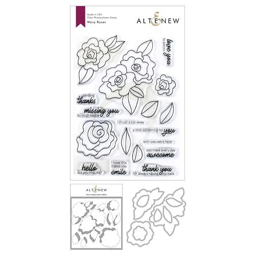 Altenew WAVY ROSES Clear Stamp, Die and Masked Stencil Bundle Preview Image