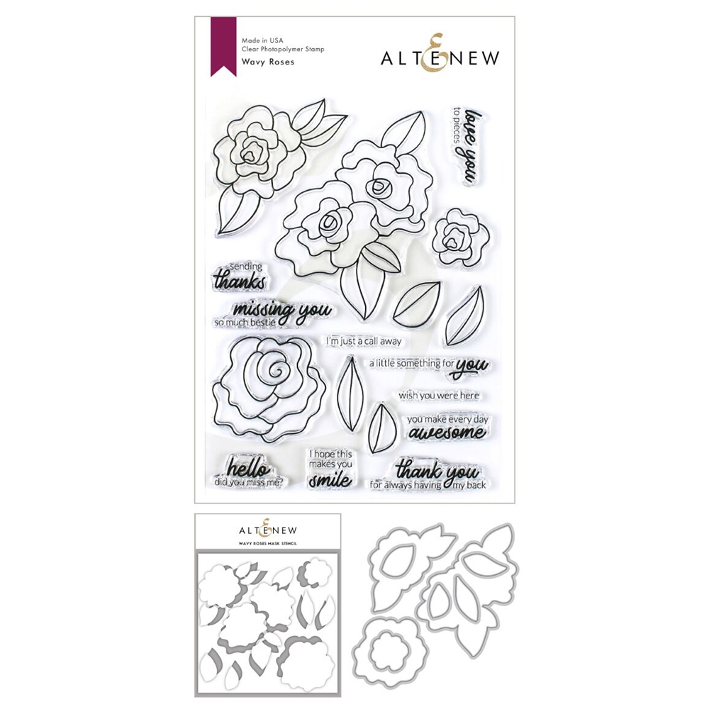 Altenew WAVY ROSES Clear Stamp, Die and Masked Stencil Bundle zoom image