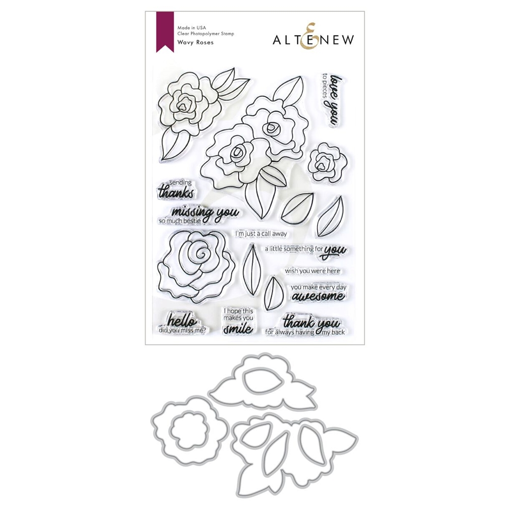 Altenew WAVY ROSES Clear Stamp and Die Bundle ALT3429 zoom image