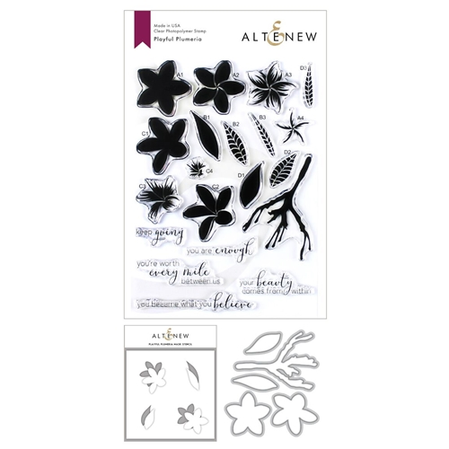 Altenew PLAYFUL PLUMERIA Clear Stamp, Die and Masked Stencil Bundle ALT3422 Preview Image