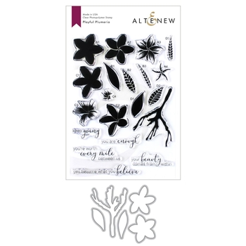 Altenew PLAYFUL PLUMERIA Clear Stamp and Die Bundle ALT3421
