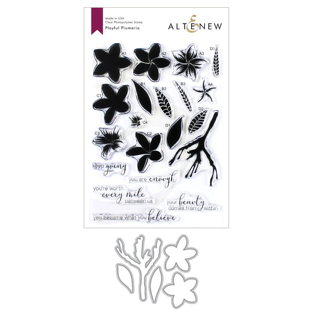 Altenew PLAYFUL PLUMERIA Clear Stamp and Die Bundle ALT3421* zoom image