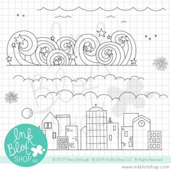 Ink Blot Shop Clear Stamp Set SKYLINE BORDERS inbl074