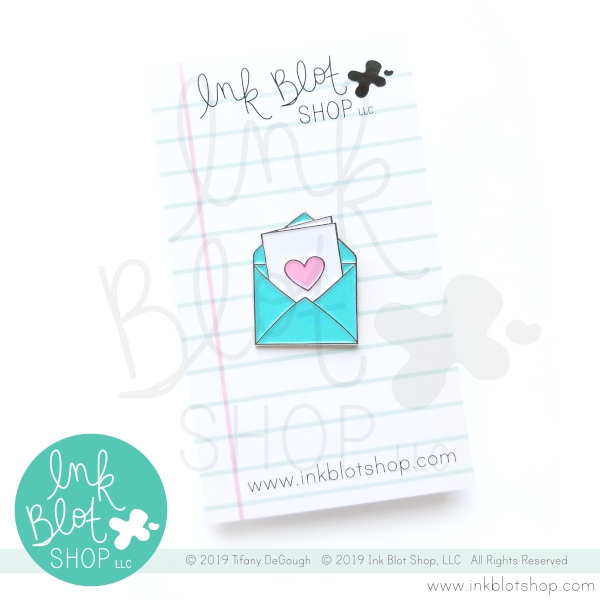 Ink Blot Shop Enamel Pin ENVELOPE WITH CARD AND HEART ibpn003* zoom image