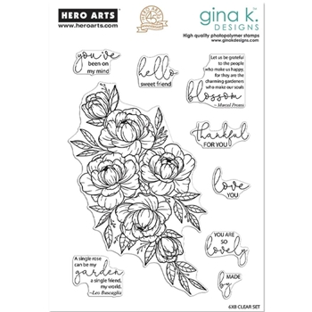 Hero Arts Partnership Clear Stamps Gina K FRIENDSHIP BLOOMS PR101