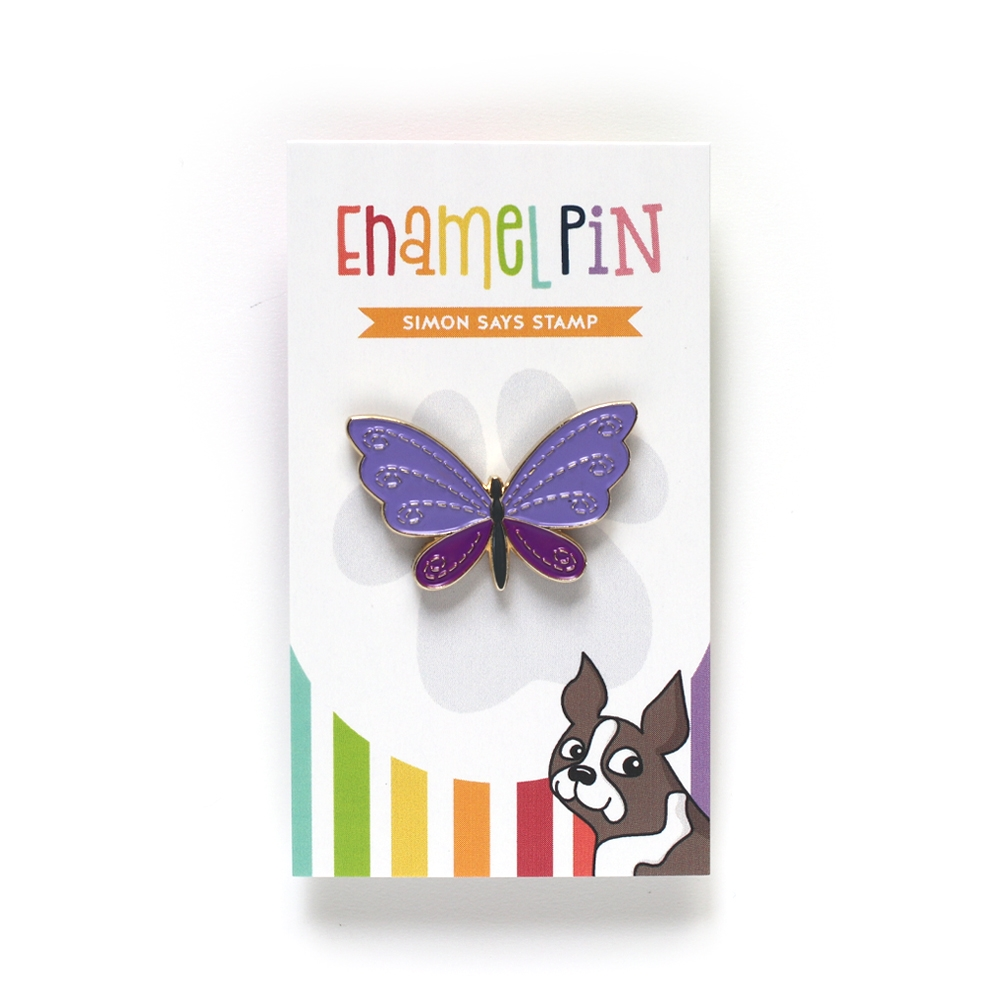 Simon Says Stamp STITCHED FANTASY BUTTERFLY Enamel Pin EP1035 zoom image