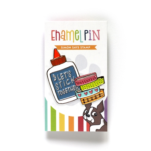 Simon Says Stamp LET'S STICK TOGETHER Enamel Pin SSSpin1 Preview Image