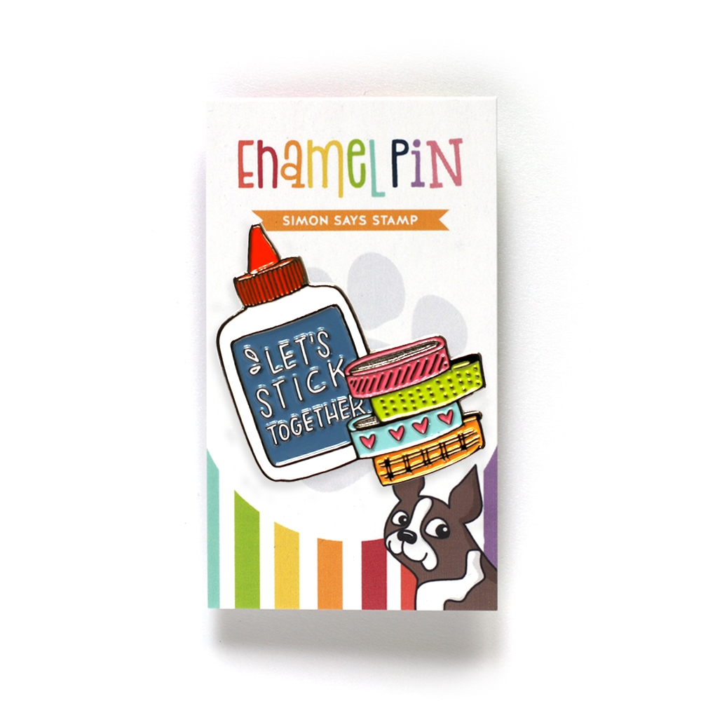Simon Says Stamp LET'S STICK TOGETHER Enamel Pin SSSpin1 zoom image
