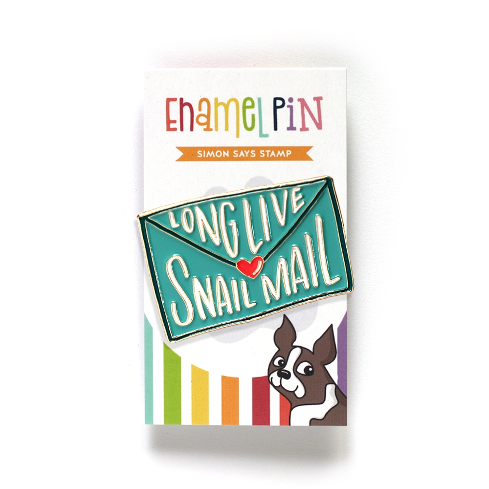 Simon Says Stamp LONG LIVE SNAIL MAIL ENVELOPE Enamel Pin SSSpin4 zoom image