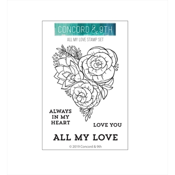 Concord & 9th ALL MY LOVE Clear Stamp Set 10640