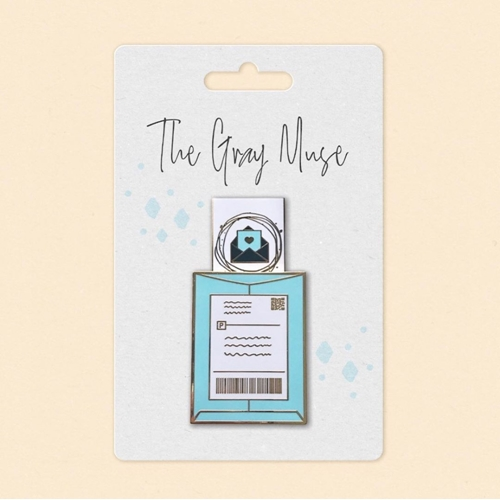 The Gray Muse HAPPY MAIL SLIDER TURQUOISE Enamel Pin tgm-a19-p47 Preview Image