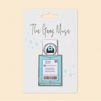 The Gray Muse HAPPY MAIL SLIDER TURQUOISE Enamel Pin tgm-a19-p47