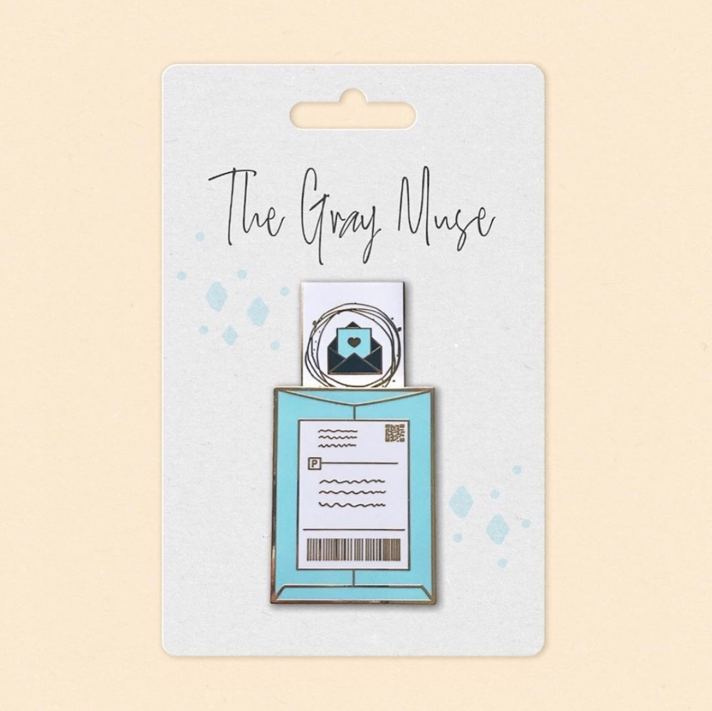 The Gray Muse HAPPY MAIL SLIDER TURQUOISE Enamel Pin tgm-a19-p47 zoom image